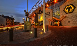 Billy Wright outside of the Molineux Stadium